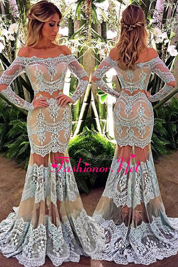 Mermaid Lace Floor Length White Prom Party Dress Off The Shoulder Long Sleeves Zipper