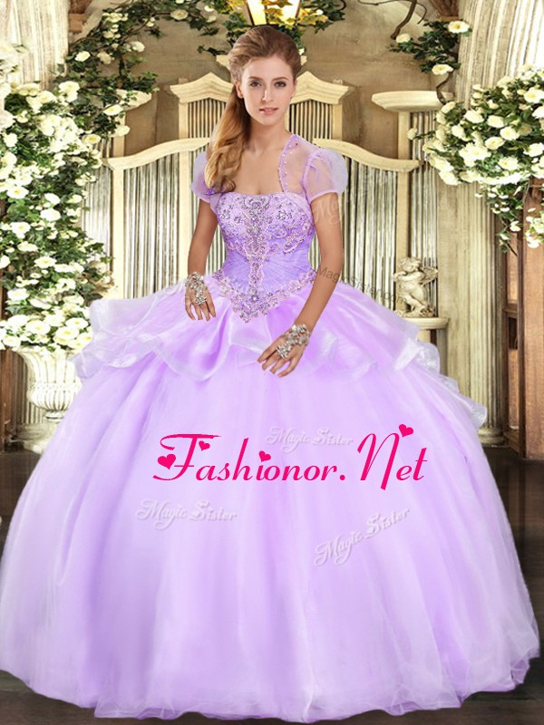 Gorgeous Strapless Sleeveless Organza Vestidos de Quinceanera Appliques Lace Up
