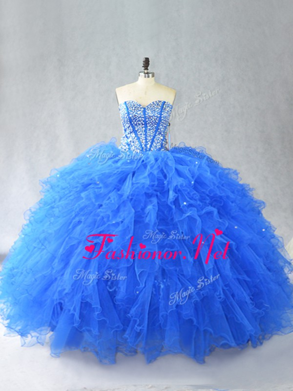 Traditional Ball Gowns Quince Ball Gowns Blue Sweetheart Tulle Sleeveless Floor Length Lace Up