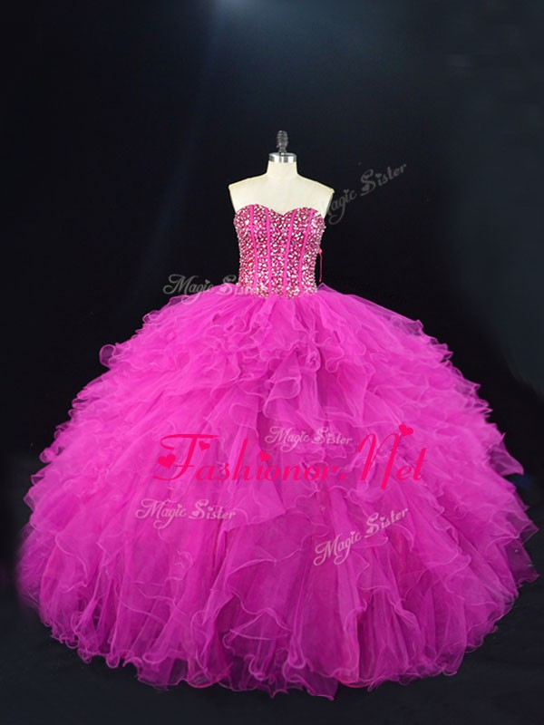 Floor Length Fuchsia Quinceanera Dress Tulle Sleeveless Beading and Ruffles