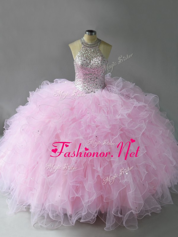 Eye-catching Floor Length Lace Up Vestidos de Quinceanera Pink for Military Ball and Sweet 16 and Quinceanera with Beading and Ruffles