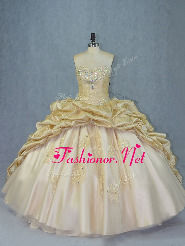 Champagne Sleeveless Brush Train Beading and Appliques Quinceanera Dress