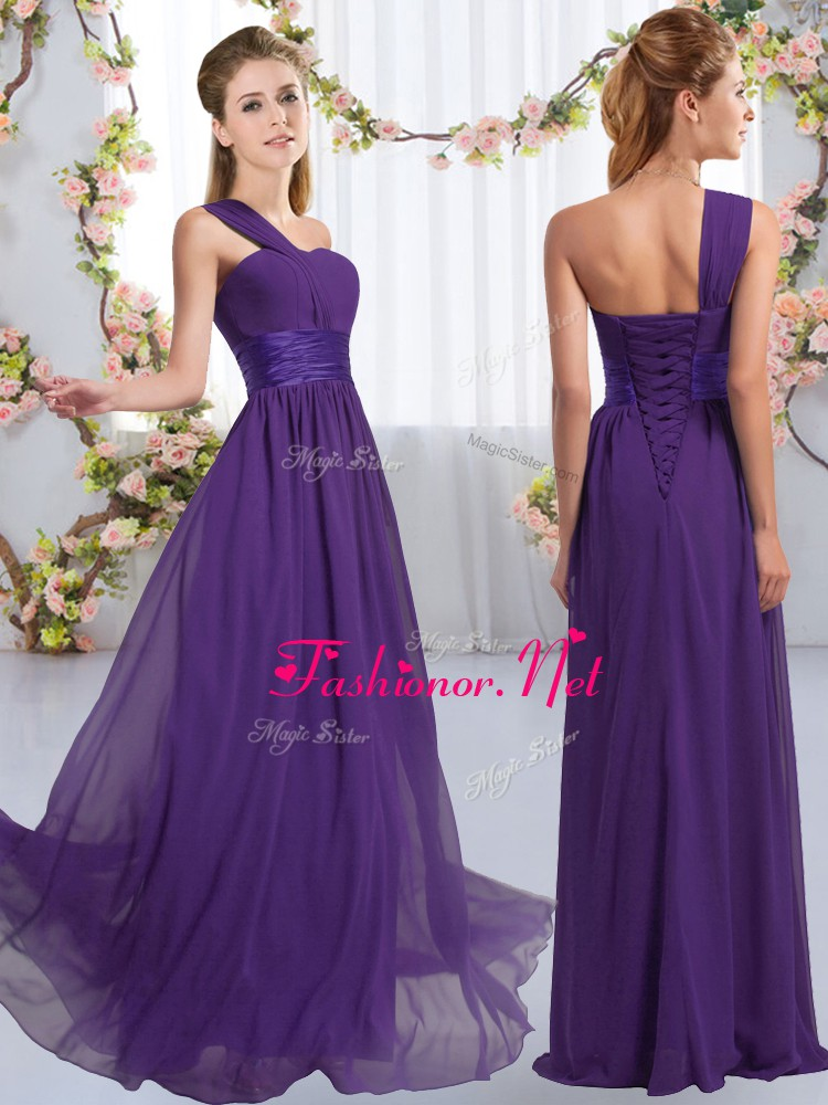 Perfect Sleeveless Lace Up Floor Length Ruching Dama Dress for Quinceanera