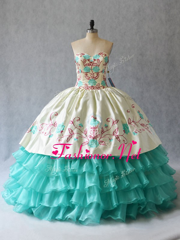 Inexpensive Floor Length Lace Up Sweet 16 Dress Aqua Blue for Sweet 16 and Quinceanera with Embroidery and Ruffled Layers