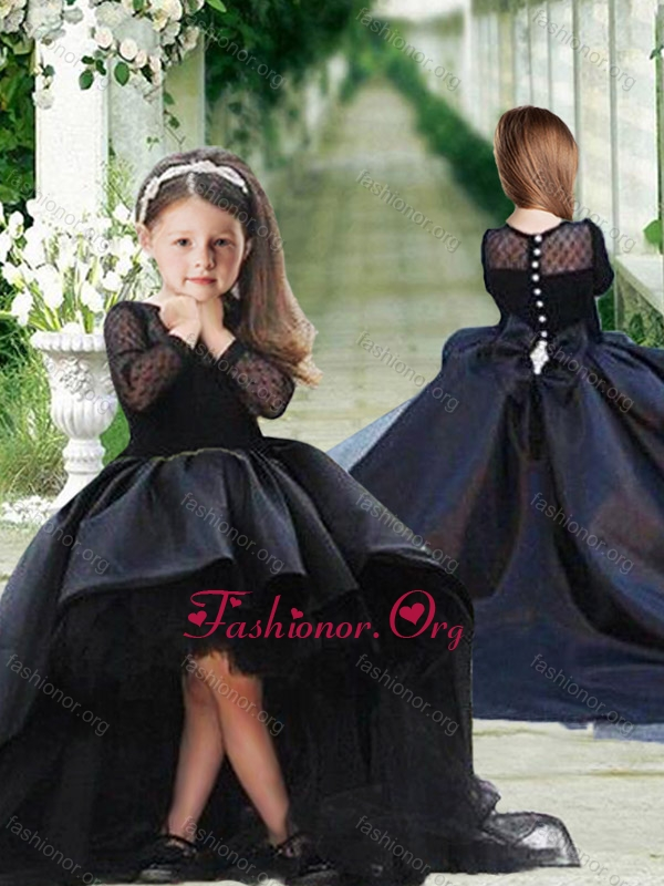 Romantic See Through Long Sleeves Flower Girl Dress in Navy Blue LTG242FOR
