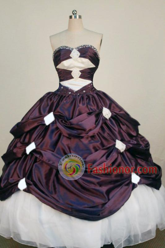 Exclusive Ball Gown Sweetheart Neck Floor-Length Burgundy Beading Quinceanera Dresses Style FA-S-250