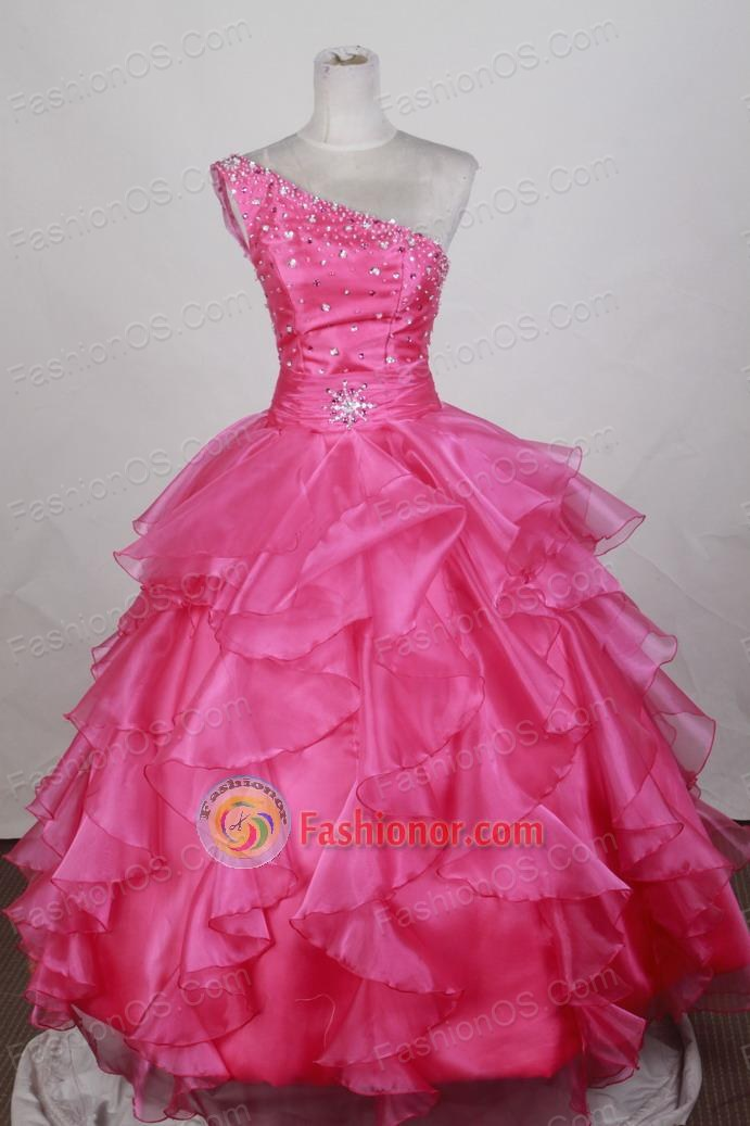 Pretty Ball Gown One Shoulder Floor-length Hot Pink Quinceanera Dress LZ426075