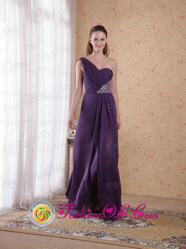 Customize One Shoulder Purple Empire Floor-length Beading and Ruch Chiffon Evening Dress  in Sucre Bolivia Wholesale Style PDATS127FOR