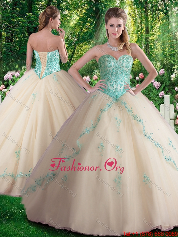 Hot Sale A Line Appliques Sweet 16 Dresses in Champagne SJQDDT342002FOR