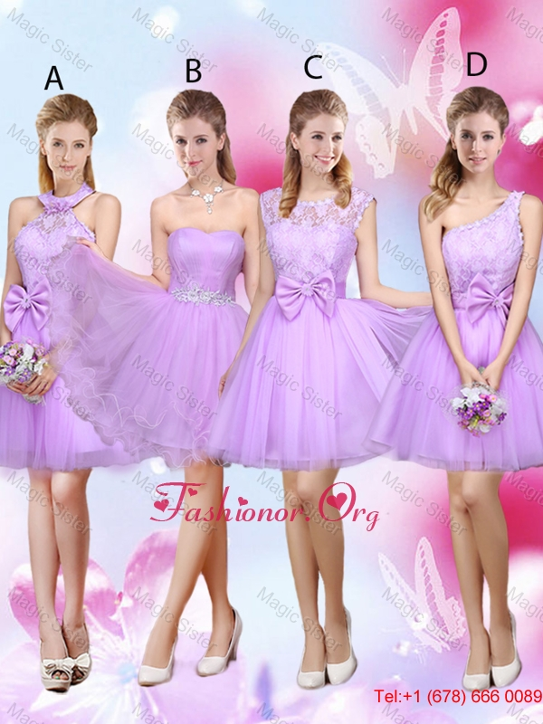Sophisticated A Line Lavender Dama Dresses with Lace and Bowknot BMT036FOR