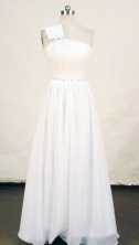 Simple A-line One-shoulder Neck Floor-length Chiffon White Beading Prom Dresses Style FA-C-201
