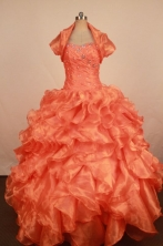 Exquisite Ball Gown Sweetheart Neck Floor-Length Orange Beading Quinceanera Dresses Style FA-S-284