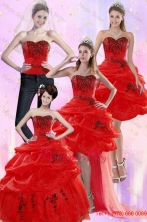 Pretty Red Quinceanera Dresses with Appliques and Pick Ups for 2015 XFNAO508TZA2FOR