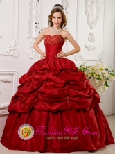 Red Quinceanera Dress With Sweetheart Taffeta Appliques beading Decorate Pick ups For Military Ball In La Plata Argentina Style QDLJ0081FOR