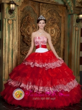 Manta  Ecuador Handmade Luxurious Colorful Ruffles Layered Beading 2013 Sweet sixteen Gowns Organza Style QDZY247FOR