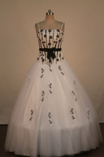 Romantic Ball Gown Straps Floor-Length White Beading and Appliques Quinceanera Dresses Style FA-S-26