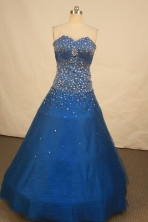Modest Ball Gown Sweetheart Floor-length Royal Blue Satin Beading Quinceanera dress Style FA-L-183