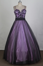 Simple Ball Gown Straps Floor-length Purple Quinceanera Dress Y042628