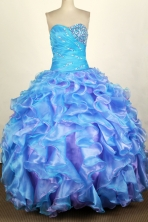 Luxurious Ball Gown Sweetheart Floor-length Blue Quinceanera Dress Y042629