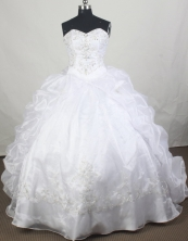 Luxury Ball Gown Sweetheart Floor-length White   Quinceanera Dress Y042660