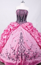 Brand New Ball Gown Strapless Floor-length Light Pink Taffeta Embroidery Quinceanera dress Style FA-L-015