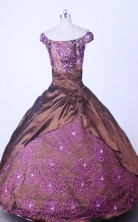 Modest Ball Gown Off The ShoulderFloor-length Brown TaffetaEmbroideryQuinceanera dress Style FA-L-058