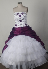 Simple Ball Gown Strapless Floor-length White And Purple Quincenera Dresses TD260042
