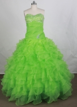 Beautiful Ball Gown Sweetheart Floor-length Spring Green Quinceanera Dress Y042666