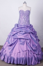 Exclusive Ball Gown Sweetheart Floor-length Lilac Taffeta Beading Quinceanera dress Style FA-L-017