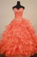 Exclusive Ball Gown Sweetheart Floor-length Orange Organza Beading Quinceanera dress Style FA-L-254
