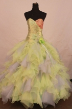 Exclusive Ball Gown Sweetheart Floor-length Yellow Organza Beading Quinceanera dress Style FA-L-272