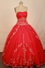 Popular Ball Gown Strapless Floor-length Red Beading Quinceanera dress Style FA-L-302