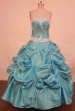 Popular Ball Gown Strapless Teal Taffeta Floor-length Appliques Quinceanera dress Style FA-L-246