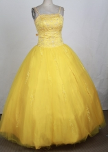 Popular Ball Gown Straps Floor-length Yellow Quinceanera Dress Y042643