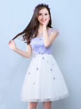 Glorious Cap Sleeves Tulle Knee Length Lace Up Dama Dress in White with Appliques