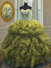 Sleeveless Floor Length Beading and Ruffles Lace Up Quinceanera Dress with Olive Green