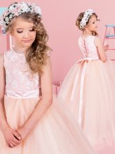 Ball Gowns Flower Girl Dress Champagne Scoop Tulle Sleeveless Floor Length Lace Up