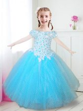 Spectacular Off the Shoulder Cap Sleeves Tulle Floor Length Zipper Toddler Flower Girl Dress in Aqua Blue with Beading and Appliques