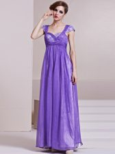 Lavender Prom Gown Prom and Party with Sequins and Ruching Square Cap Sleeves Side Zipper