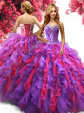 Popular Multi-color Ball Gowns Sweetheart Sleeveless Organza Floor Length Lace Up Beading and Ruffles Quinceanera Dress