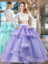 Enchanting Scoop Lace Ruffled Floor Length Two Pieces Long Sleeves Lavender Quinceanera Gowns Zipper