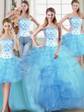 Four Piece Baby Blue Strapless Neckline Beading and Appliques and Ruffles 15 Quinceanera Dress Sleeveless Lace Up