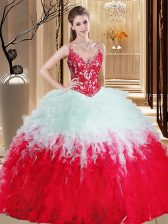 Delicate Straps White And Red Sleeveless Appliques and Ruffles Floor Length Sweet 16 Quinceanera Dress