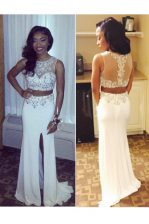 Lovely Scoop Sleeveless Prom Evening Gown Sweep Train Beading and Appliques White Chiffon