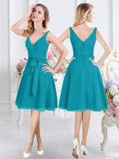 Teal Empire Chiffon V-neck Sleeveless Ruching and Belt Knee Length Zipper Dama Dress for Quinceanera