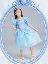 Square Organza Short Sleeves Tea Length Flower Girl Dress and Beading