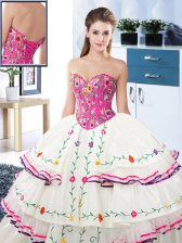 Pretty White Sleeveless Floor Length Embroidery and Ruffled Layers Lace Up Quinceanera Dress