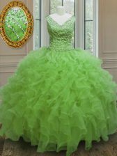 Floor Length Quinceanera Dress V-neck Sleeveless Zipper
