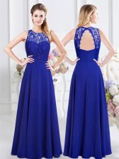 Scoop Royal Blue Chiffon Backless Quinceanera Dama Dress Sleeveless Floor Length Lace