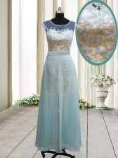 Scoop Cap Sleeves Ankle Length Backless Homecoming Dress Light Blue for Prom with Lace